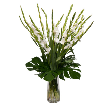 Gladioli Bouquet In Glass Vase