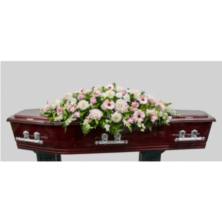 Seasonal Mix of Pink and White Casket Cover