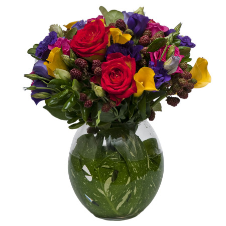 Rainbow Coloured Posy in Vase