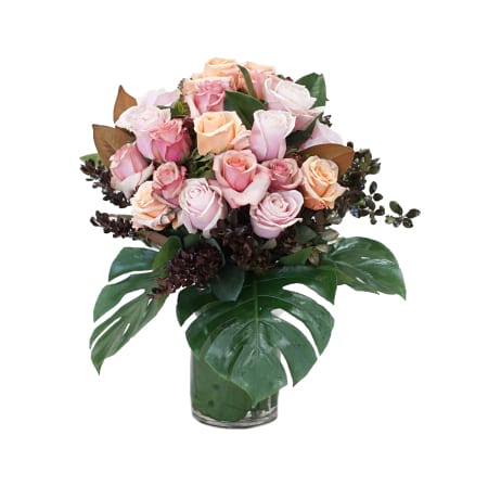 Vase of Mixed Pastel Roses