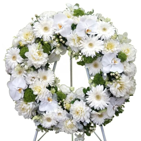 white and green wreath suitalble for funeral services only