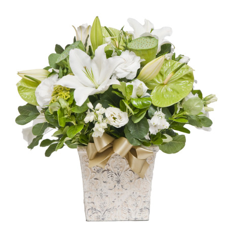 White and Green Premium Pot (Suitable for funeral services)