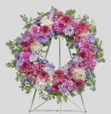 Mauve and Pink Wreath (Suitable for funeral services only)