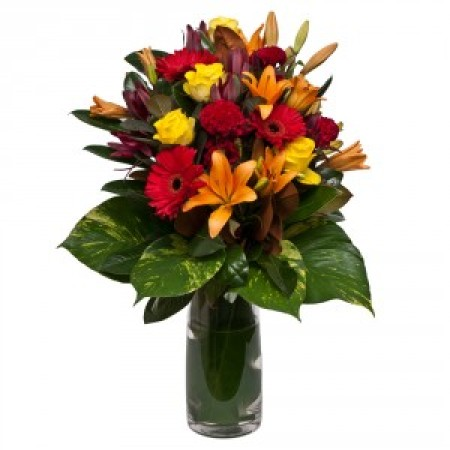 Bright Bouquet in Glass Vase