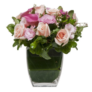 Mixed Pink Posy in Vase