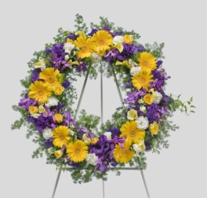 Purple yellow and white wreath for funeral services only mightylinksfo