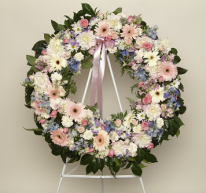 Pink and Mauve Wreath (Suitable for funeral services only)