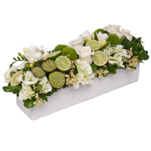 White and Green Grouped Table Setting