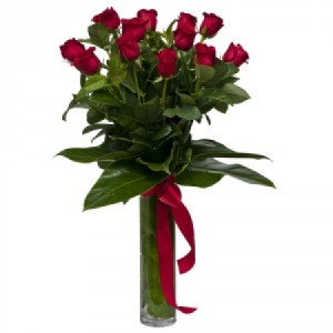 A Dozen Extra Long Stem Red Roses in Vase