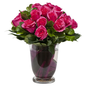 Hot Pink Rose Posy in Vase